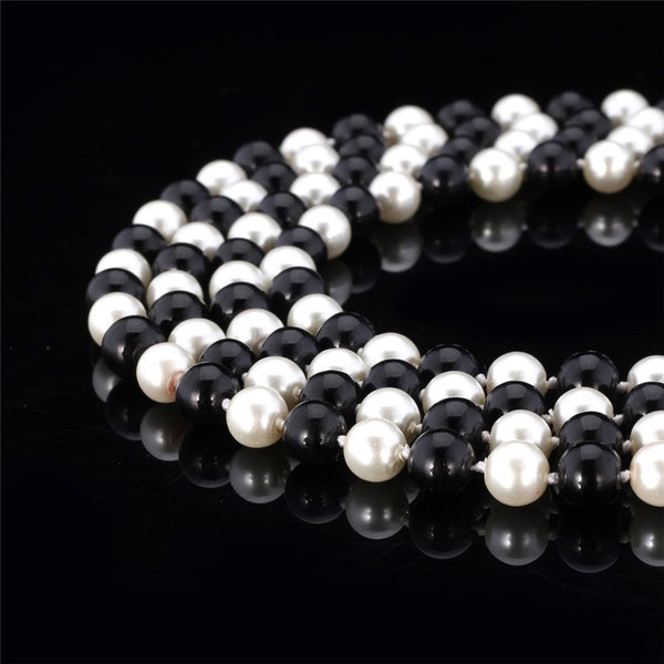 Multi-Colour, Stunning, Synthetic Pearl, Multilayer, Maxi Length Necklace