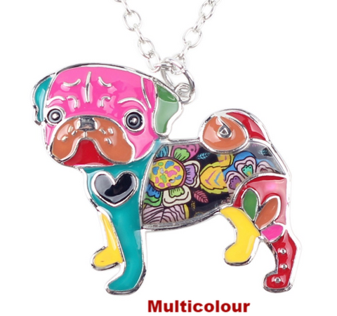 Pug Dog Necklace (Multicolour)