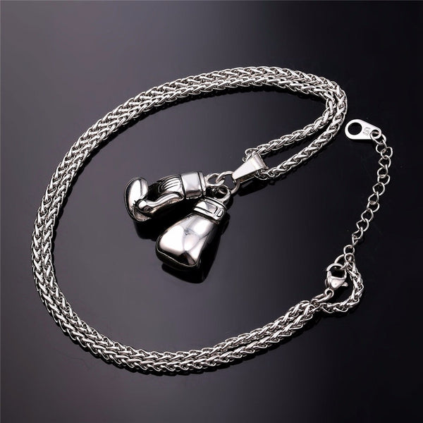 Unisex Boxing Gloves Necklace Available In Gold Colour, Stainless Steel Chain Pendant/Charm. Fashion/Sport Fitness Jewellery