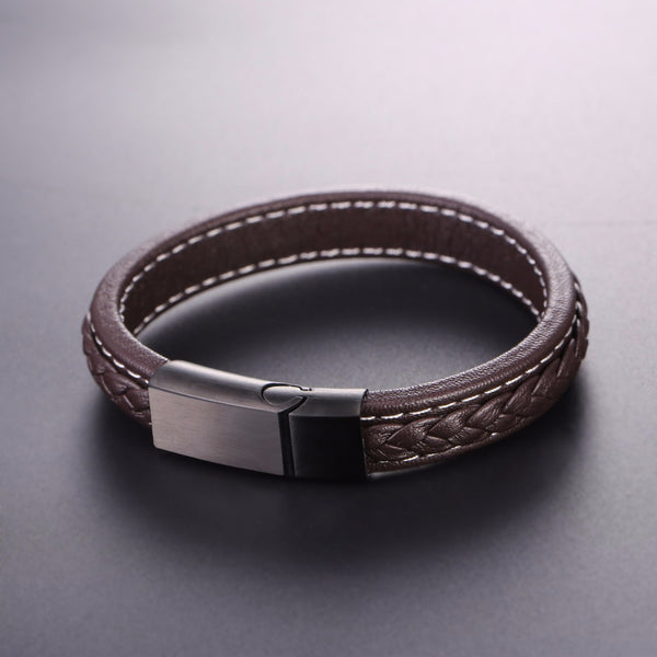 Mens Genuine Leather & Stainless Steel Bracelet. Available in Black or Brown.
