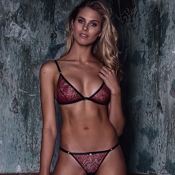 Burgundy Sexy Lace Bra Women Mesh Semi-Sheer Thong Underwear Lingerie Set