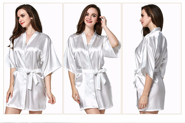 Satin Dressing Gown Bridal Party Wedding Robe/Dressing Gown Rhinestone Print Bride, Bridesmaid, Maid of Honor.