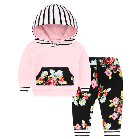 Baby Girl Casual Comfy Leggings & Hooded Top Floral & Stripe Print Design