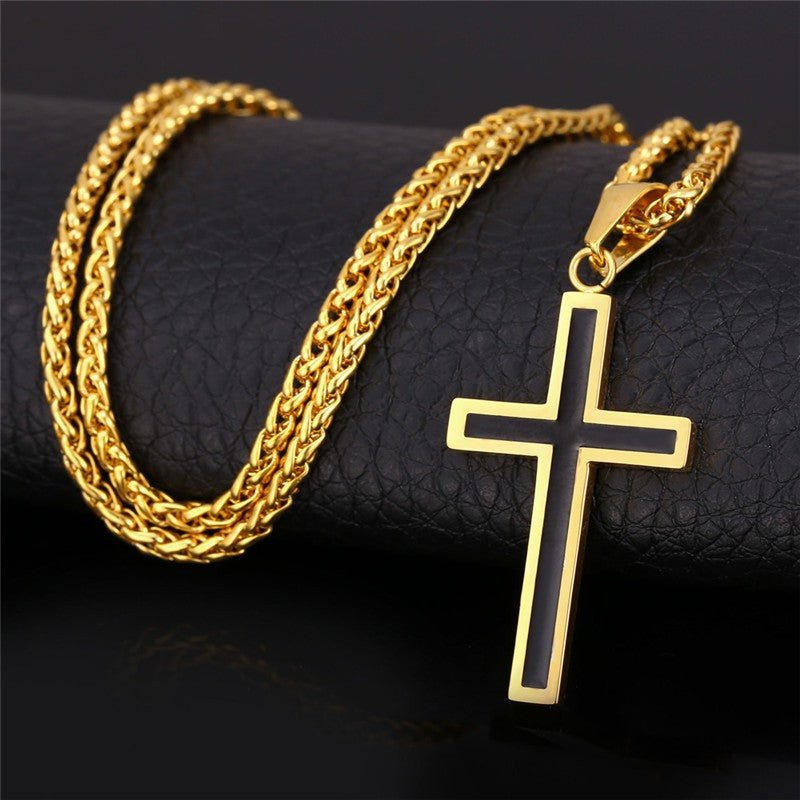 Mens Fashionable Long Necklace, Cross and Chain.