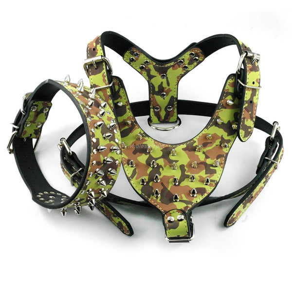 Studded Dog Harness & Collar Set. Large Spiked & Studded Leather For Medium/Large Dogs