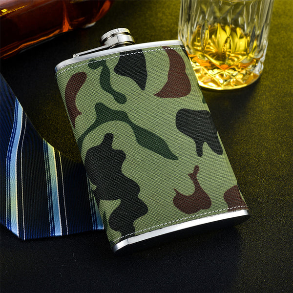Superior and Elegant Hip Flask, Brown, Black and Camouflage