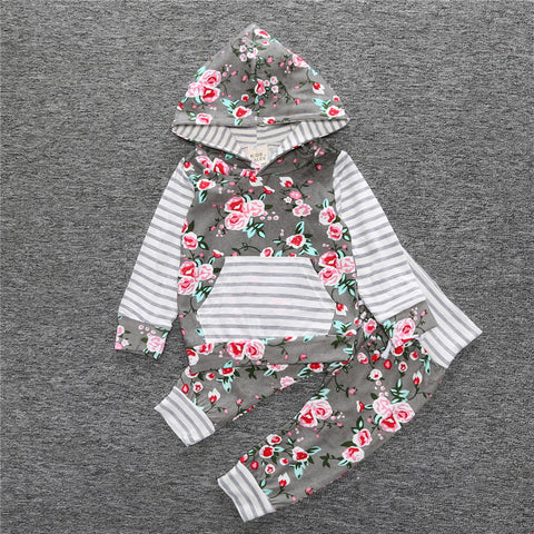Baby Girl 2018 Casual 2 Pc Set. Grey Floral & Stripe Hooded Top & Bottoms