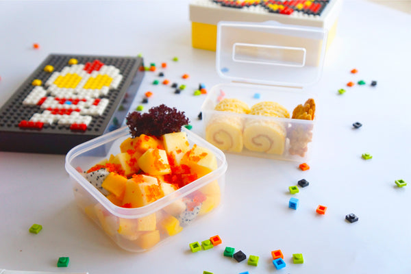 "Playful Packed Lunchbox.  Inc Foldable Fork & 500 Fun ""Bricks""  & Elastic Belt For Easy Carrying. Portable/Travel. Plastic. BPA Free (500 pieces bricks)"