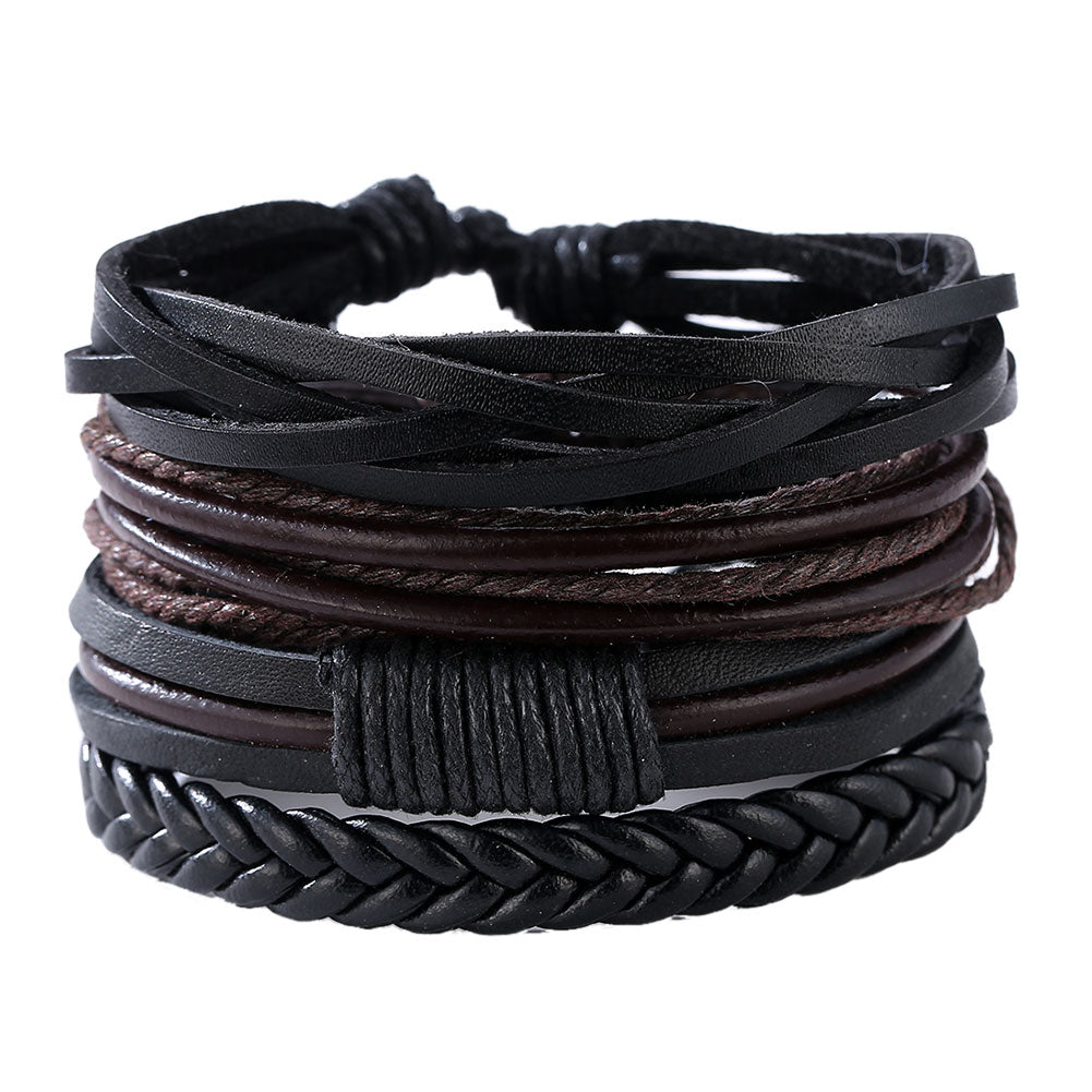 Mens Leather Black & Brown Layered Bracelet