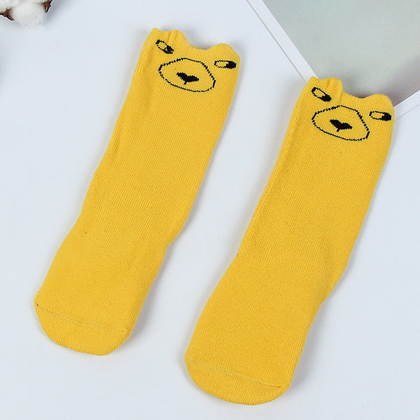 "Kids ""Cute Animal"" High Quality, Thick, Warm Long Socks. With Non Slip, Silicone Sole"