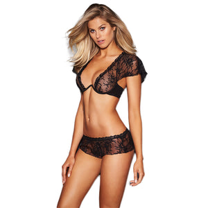 Lucy 3/4 Cup Underwired Lace Plunge Bra, Capped Sleeves. Available in Black or White. Matching Panties Also Available Purchase Separately