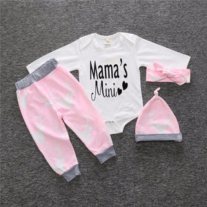 "Cute Baby Outfit ""Mamma's Mini"" 4 Piece, Long Sleeve Romper, Pink Bottoms, Pink Hair Band & Hat"