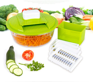 Mandoline Vegetable Slicer Inc 5 FREE Blades. Inc 1xContainer, 1xPeeler, 1xSafety Holder