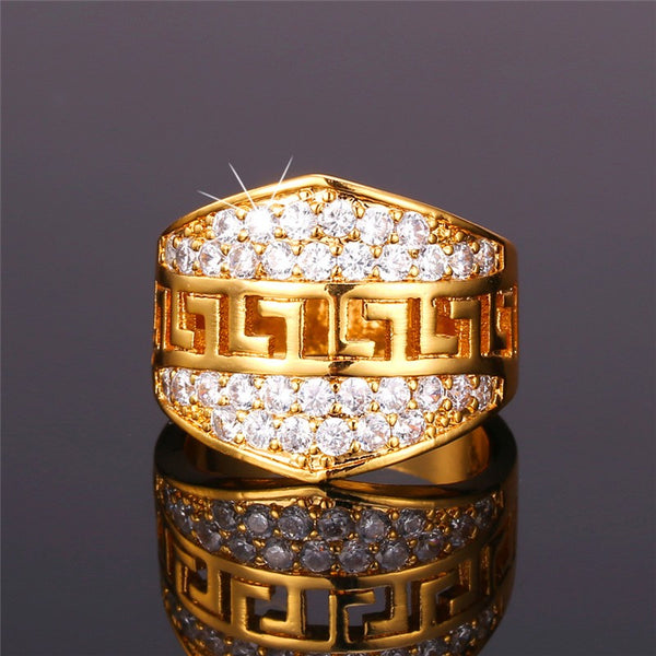 Men's Chunky Gold Colour Ring, Set with sparkling Cubic Zirconias