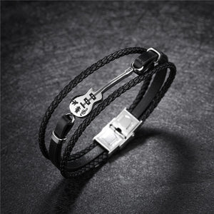 Mens Genuine Leather Guitar Bracelet