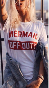 Mermaid Off Duty Womens White Cotton Casual T-Shirt