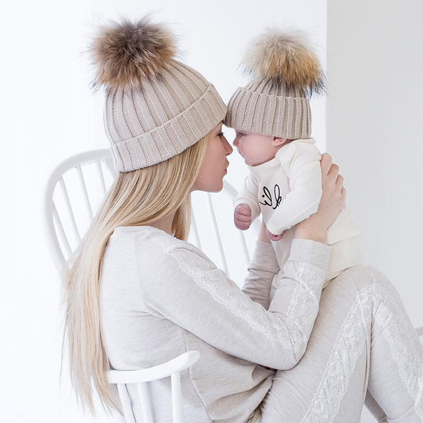 Mother & Baby, Matching, Woollen Knitted, Beanie Hats With Pom Pom