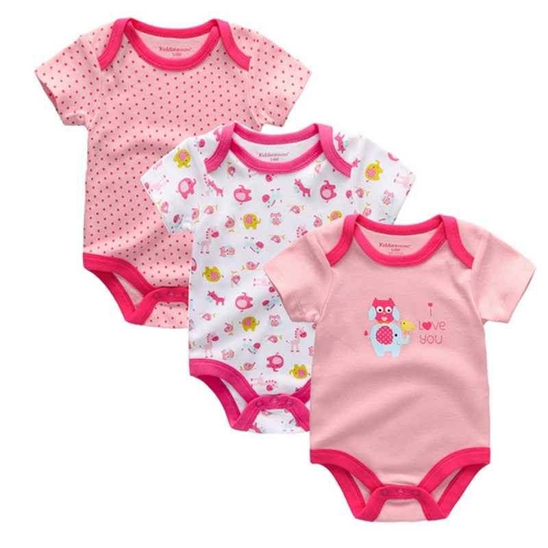 Baby Girl Short Sleeve Bodysuit. 3 Pack. Pink Various Colours & Themes. Cartoon Theme. 100% Cotton.