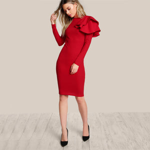 Elegant RED Bodycon Dress, One Side Shoulder Ruffle Detail, Long Sleeve, Midi Dress
