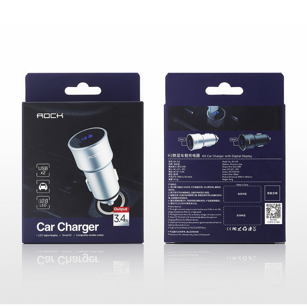 Dual USB, Fast Charge, Universal Smartphone Car Charger. Blue LED Digital Display -  Charge With Voltage/Current