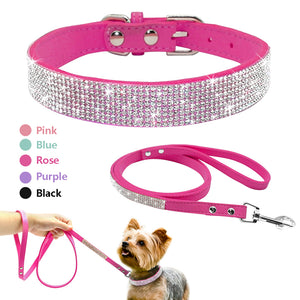Diamante Choker & Lead Set. Soft Leather Choker & Glamorous Rhinestone Diamante. Choker & Lead, 2 Piece Set. Suitable for Small-Medium Size Pets. Available in sizes XS, S, M. Colours Black, Rose, Pink & Blue.
