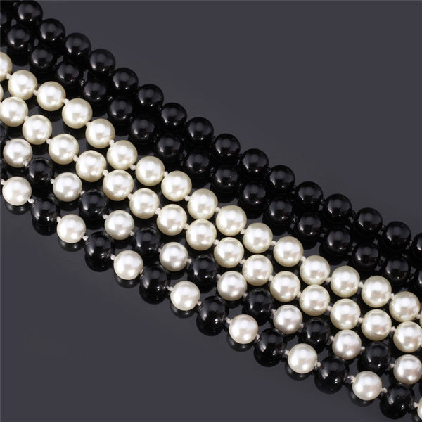 Elegant Synthetic Pearl Necklace Available in Various Colours - White, Black & Mixed Colour Pearl Maxi Length Long Necklace