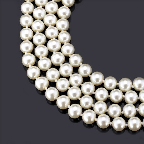Elegant Synthetic White Pearl Multi-Layer, Maxi, Long Length Necklace