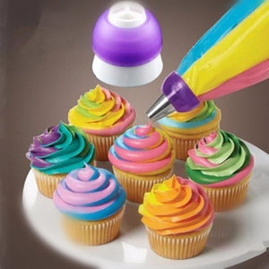 Tri Colour Icing Nozzle Attachment - Creates Three Colour Piped Icing. Cake Baking Decorating Tools.