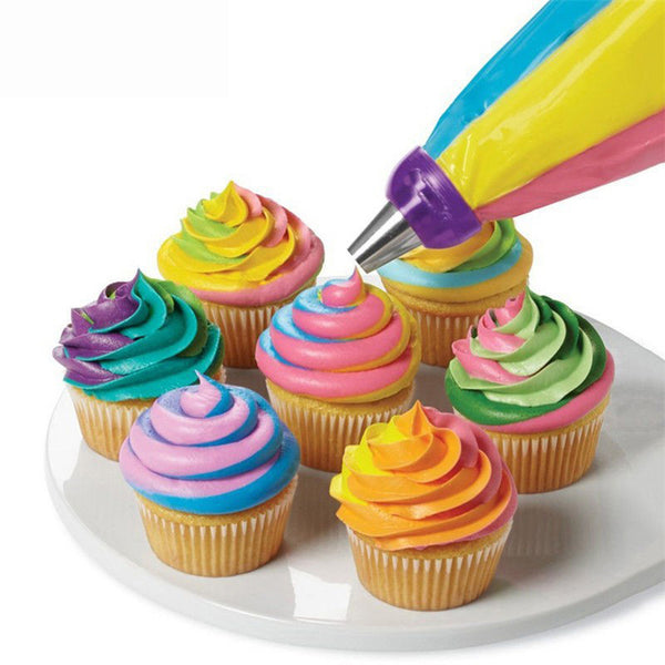 tri colour icing nozzle attachment for cake decorating