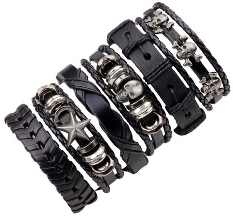 Men's Leather & Skull Multi-Layer 6Pc/Set Wristbands Bracelet