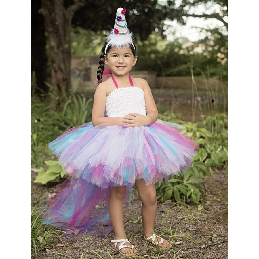 Girls Unicorn, Party Dress. Rainbow Bustle. Dressing Up Outfit. Children Cosplay. Available in 4 x UK Sizes. 12-18 months, 24 months, 2-3 years, 3-4 years.