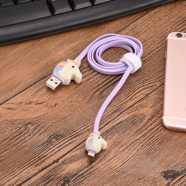 Unicorn Mini USB Cable 1 Meter Micro USB Extension Cable Rubber Data Line Violet Colour For Iphone Smart Phone