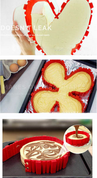 Genius Versatile & Flexible Silicone Cake Mould - Creates Heart, Rectangular, Round Shapes and much more. Baking Tools Kitchen Accessories