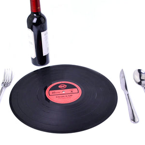 30cm Big Retro Record Black Table Mat Insulated Soft Silicone Dining Table Placemat Kitchen Decor