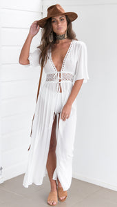 White Cotton Lace Bikini Cover-Up - Beachwear