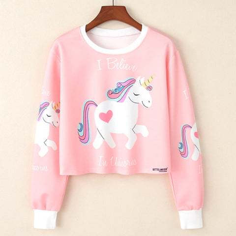 Womens/Girls Unicorn Cartoon Crop Top Pink Jumper/Sweater. Size S, M, L