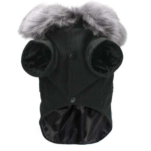 Stylish Small/Medium Dog Coat. Wool Blend & Fake Fur Collar