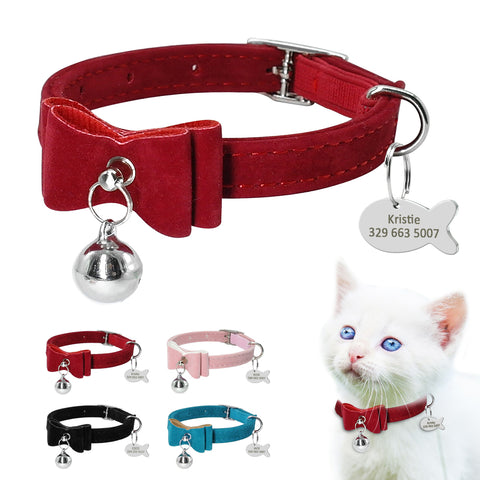 Cat Collar Bow With Bell & ID Tag. FREE Personalized ID Engraving. Also suitable for small dog or puppy. Colours Available Pink or Blue