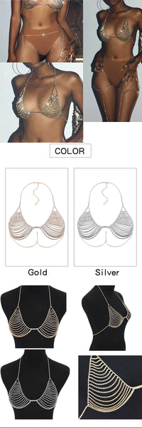 Bra & Choker Body Jewellery . 2 Piece Set. 2 colours available. Gold or Silver.