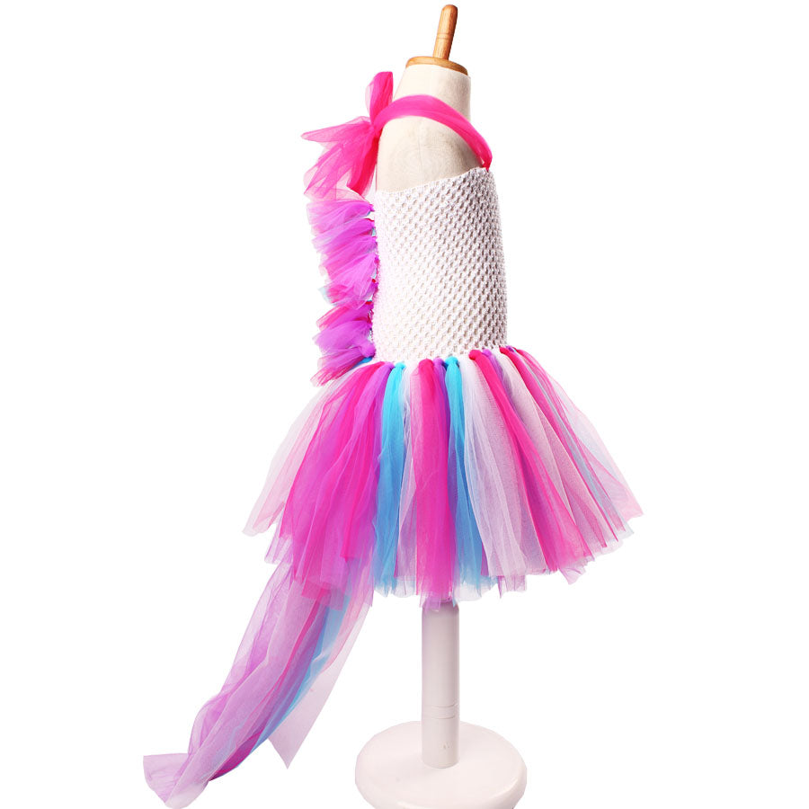 Girls Unicorn, Party Dress. Rainbow Bustle. Dressing Up Outfit ...