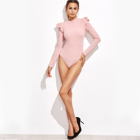 Eye-Catching, Pink Frill Trim, Long Sleeve Bodysuit