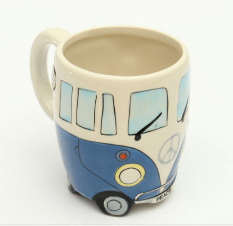 Hand Painted, Retro, Ceramic, Double Decker Bus/Camper Van Mug.