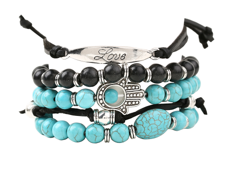 "Beautiful Boho, 5 Piece, ""With Love"" Bracelet. Blue & White Stone & Bead."