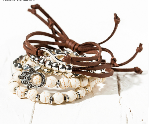 "Beatiful Boho Bracelet ""With Love"" Brown Leather & White Bead & Stones."