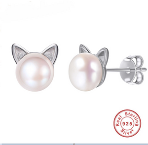 Cat Stud Earrings - Sterling Silver & White, Natural, Freshwater Pearl.