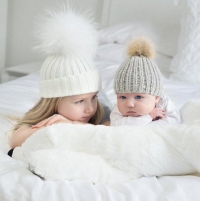 Sister And Baby Brother Matching Knitted Woollen Beanie Hat
