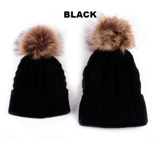 Black Mother & Baby Matching Knitted Woollen Beanie Hat