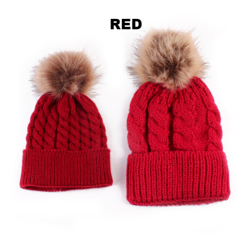 Red Mother & Baby Matching Knitted Woollen Beanie Hat