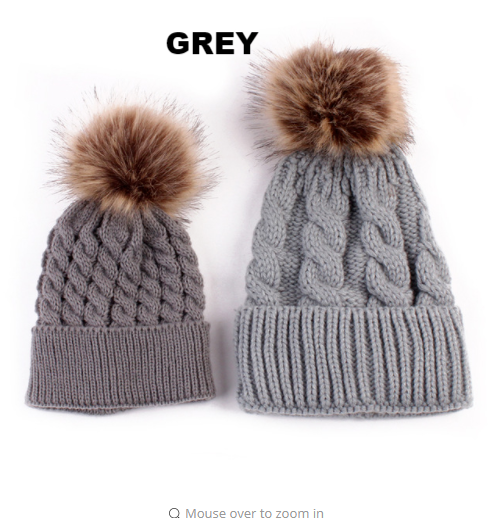 Grey Mother & Baby Matching Woollen Knitted Beanie Hat