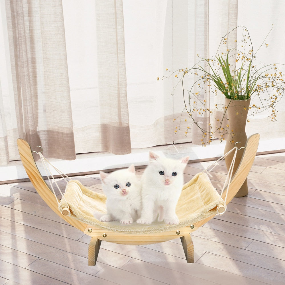 Durable Wood Frame Cats Hammock Beds - Diddo Furry Tails Pet Store